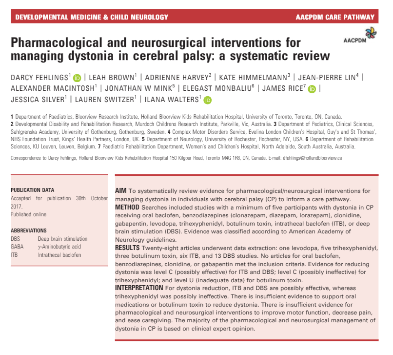 Pharmacological and neurosurgical interventions for managing dystonia in cerebral palsy: a systematic review