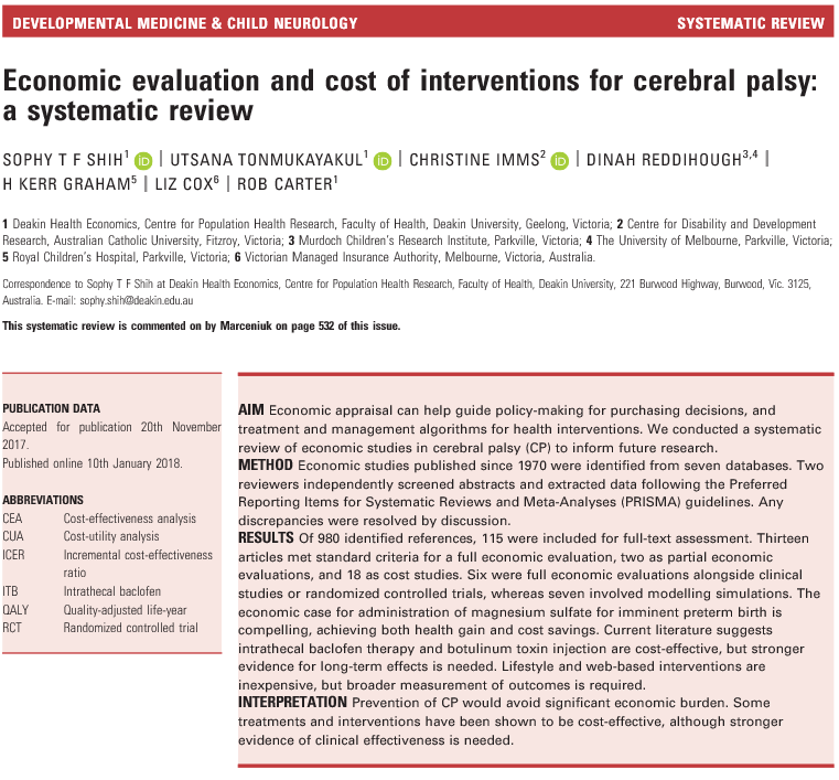 Economic evaluation and cost of interventions for cerebral palsy: a systematic review
