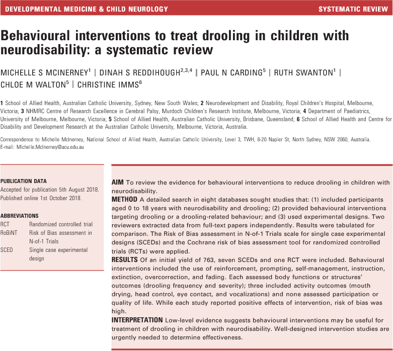 Behavioural interventions to treat drooling in children with neurodisability: a systematic review