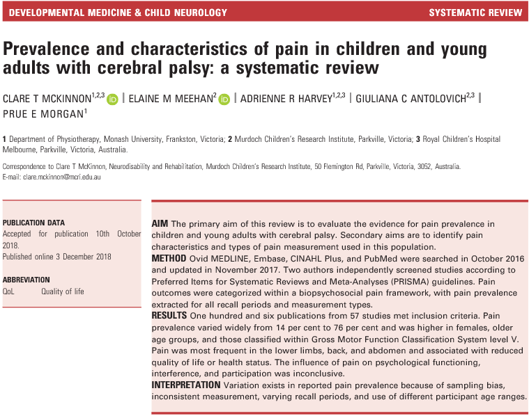 Prevalence and characteristics of pain in children and young adults with cerebral palsy: a systematic review