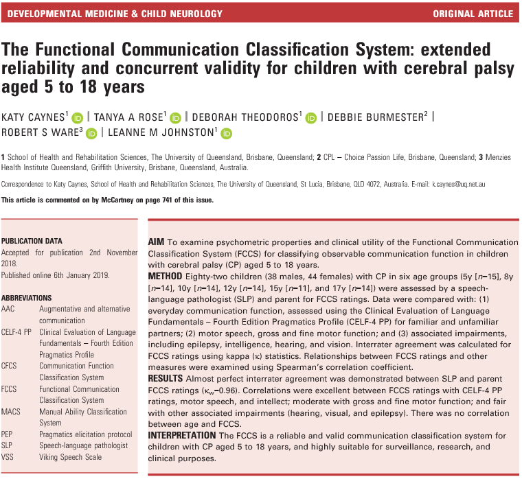 The Functional Communication Classification System: extended reliability and concurrent validity for children with cerebral palsy aged 5 to 18 years