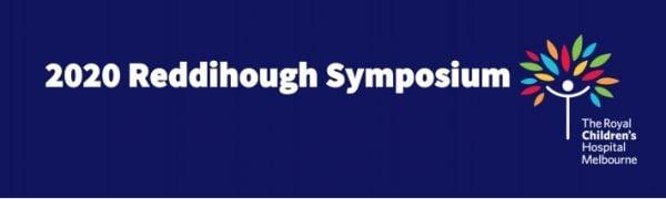 """Dark blue banner, white text reads """"2020 Reddihough Symposium"""", RCH logo"""
