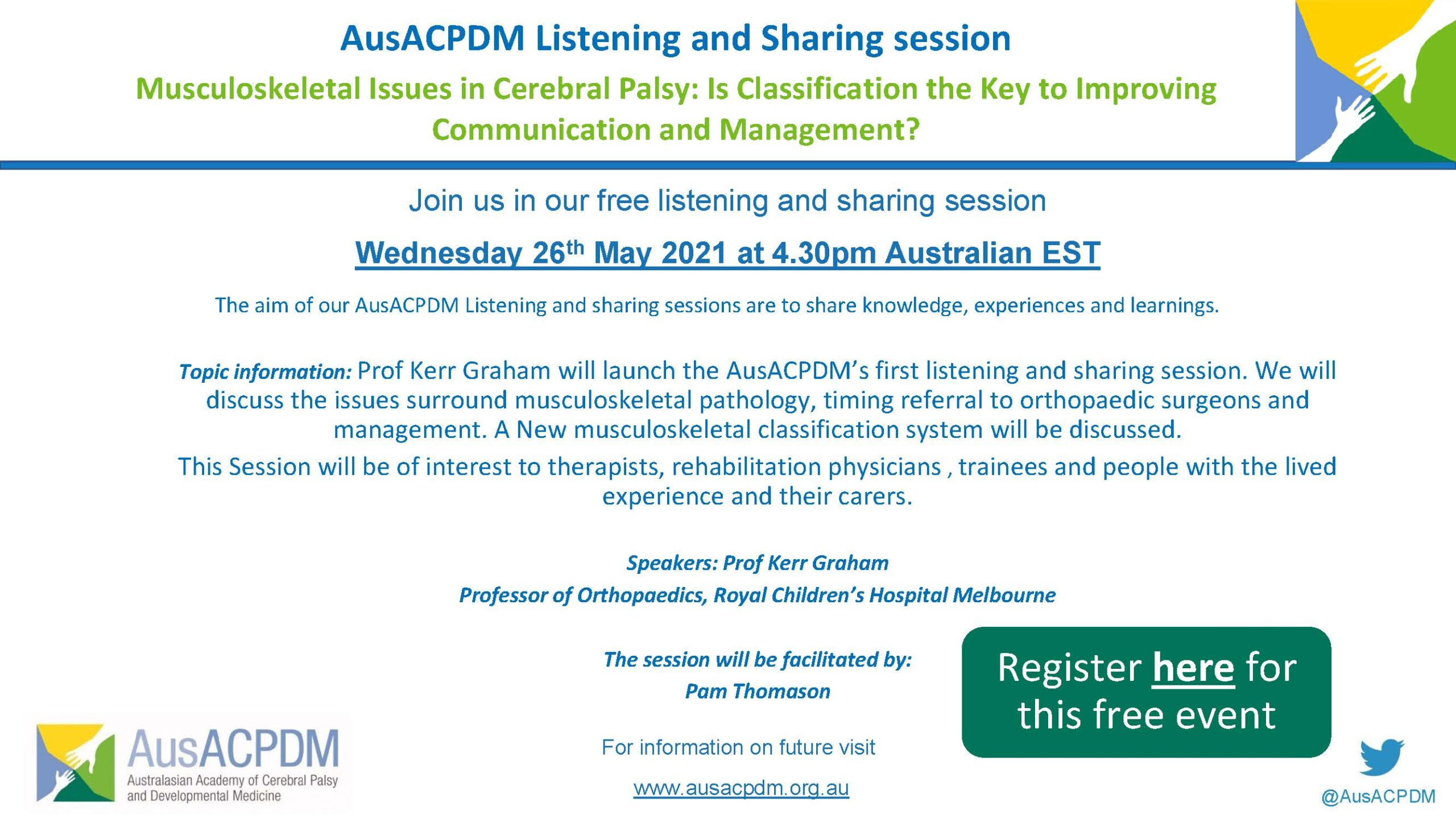 26th May: AusACPDM Listening and Sharing session
